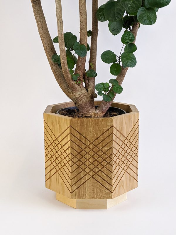 Large indoor planter pot - oak