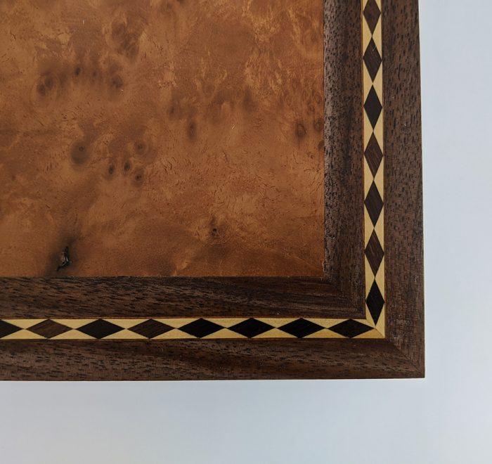 Walnut bridge box diamond inlay