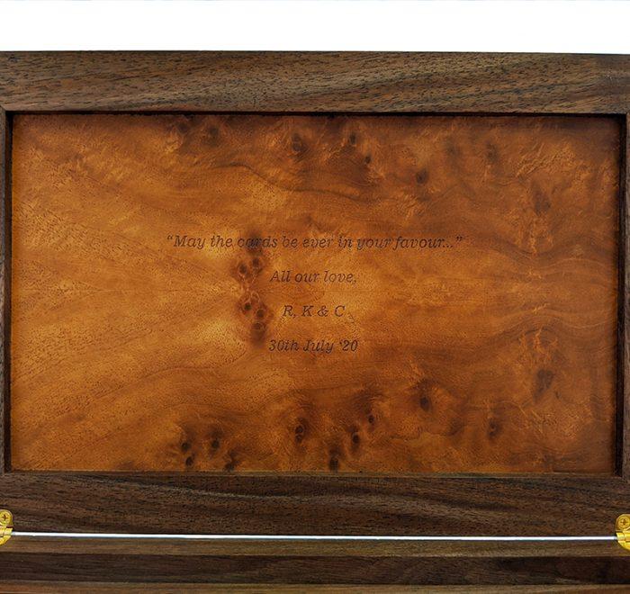 Walnut bridge box inscription