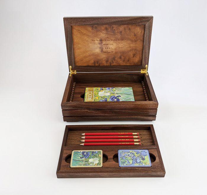 Walnut bridge box tray