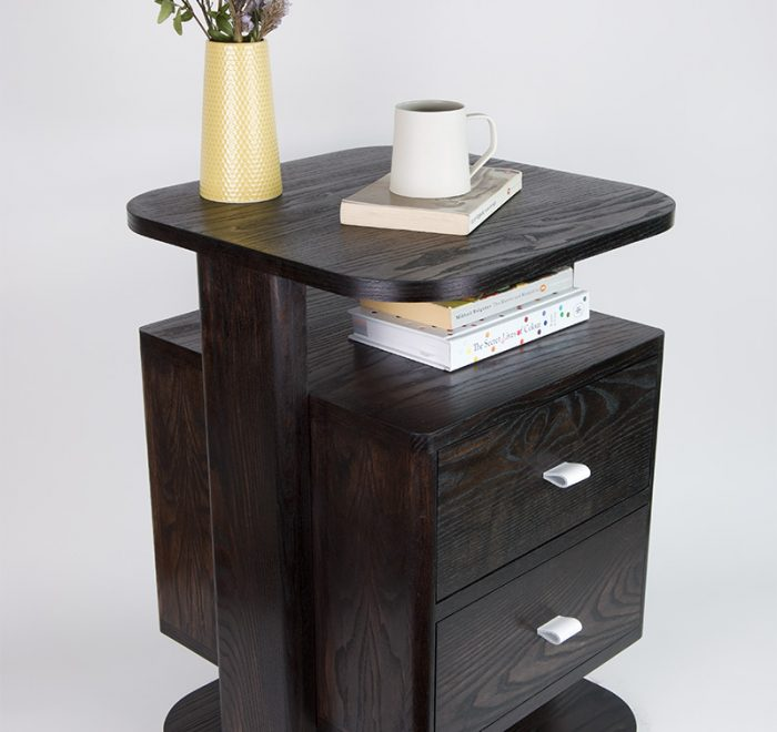Black bedside tables in ash