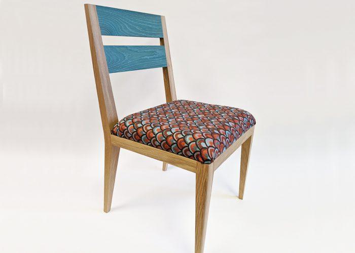 Teal modern dining chair in oak