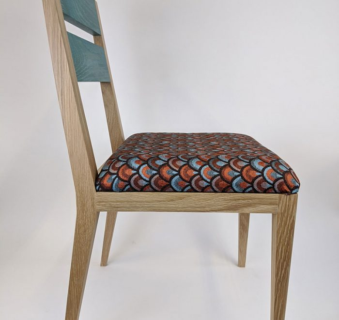 Teal modern dining chair in oak