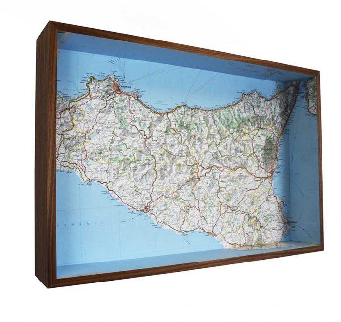 Sicily framed map box